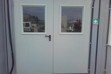 drzwi stalowe zewnętrzne, bez odporności ogniowej 2-sk. z przeszkleniem