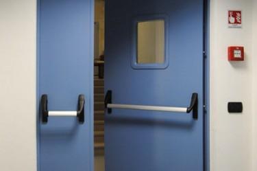 drzwi stalowe dwuskrzydłowe ppoż. z przeszkleniem 300x400mm